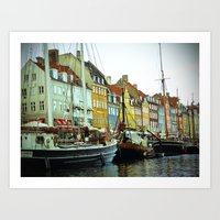 denmark Art Prints featuring Denmark by Milkflow Designs