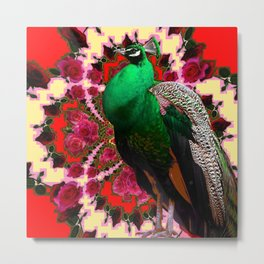 GREEN PEACOCK & RED-CREAM COLOR GEOMETRIC ART Metal Print