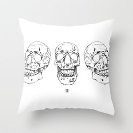 Three Skulls Throw Pillow