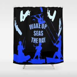 Wake Up Seas The Day Kiteboarder Royal Blue Shower Curtain