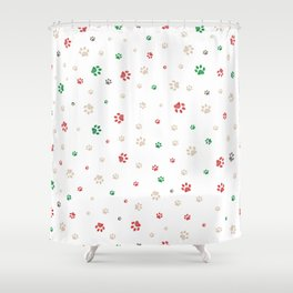 Trace doodle paw prints pattern background with Christmas new years background Shower Curtain