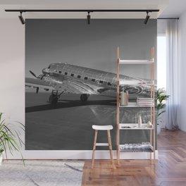 Douglas DC-3 Dakota Military Art Deco Airplane black and white photograph / art photography by Brian Burger Wall Mural