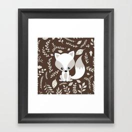 FOX AND LEAVES Framed Art Print