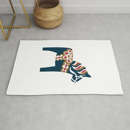 Swedish Dala Horse - Blue Rug