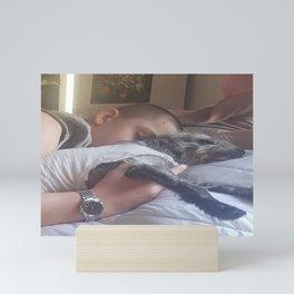 Boy and dog sleeping Mini Art Print