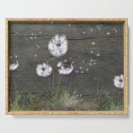Rustic Barn Wood Series: Dandelion Seeds Fly Away Serving Tray