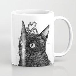 Nishi the Black Cat Wearing a Glittering Heart Tiara Coffee Mug