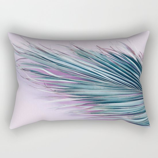 Palm leaf on pink Rectangular Pillow