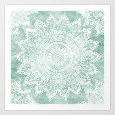 BOHEMIAN FLOWER MANDALA IN TEAL Art Print