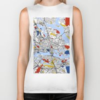 stockholm Biker Tanks featuring Stockholm by Mondrian Maps