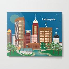 Indianapolis, Indiana - Skyline Illustration by Loose Petals Metal Print