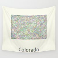 colorado Wall Tapestries featuring Colorado map by David Zydd