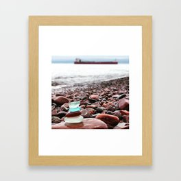 Beach Glass Cairn with a Big Boat Framed Art Print