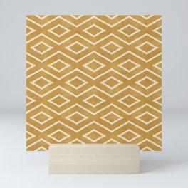 Stitch Diamond Tribal in Gold Mini Art Print