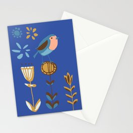 hygge blue bird Stationery Cards