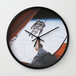 Camping in space Wall Clock