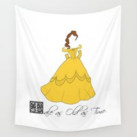 beauty and the beast Wall Tapestries featuring Beauty and the Beast by Olivia Scotton