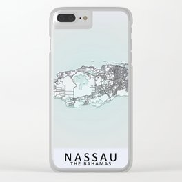 Nassau, The Bahamas, White, City, Map Clear iPhone Case