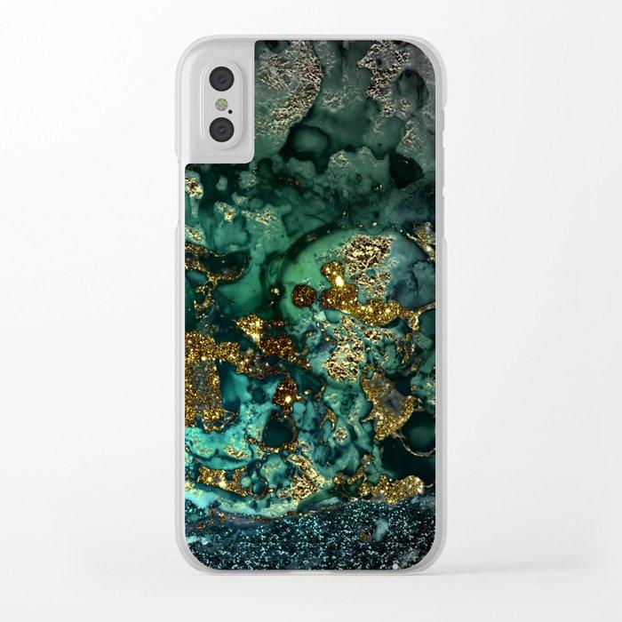 Gold Indigo Malachite Marble Clear iPhone Case