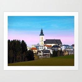 Village skyline with vivid sky | landscape photography Art Print