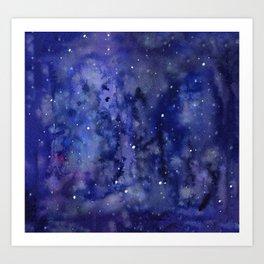 Night Sky Galaxy Nebula Stars Watercolor Space Texture Art Print
