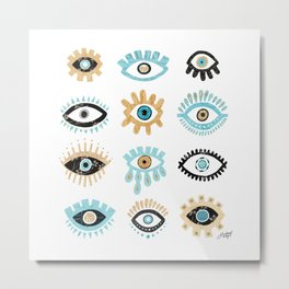 Evil Eye Collage Illustration Metal Print