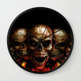 Skulls on Fire Wall Clock