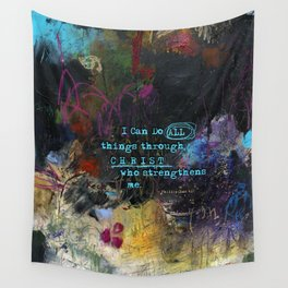Phillipians 4:13 Bible Verse Scripture Abstract Art by Michel Keck Wall Tapestry