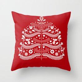 Scandinavian Folk Art Christmas Tree Throw Pillow