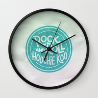 rock and roll Wall Clocks featuring Rock & Roll Hoochie Koo by Josh LaFayette