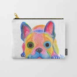 Nosey Dog French Bulldog ' AM I FRENCH ? ' by Shirley MacArthur Carry-All Pouch