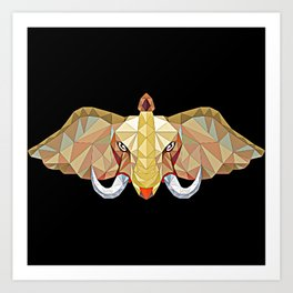 Elephant illustration in a modern beautiful origami jewel colors Art Print