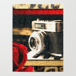 Vintage Camera Piano Leopard & Red Rose Poster