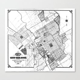 Vintage Map of San Jose California (1886) BW Canvas Print