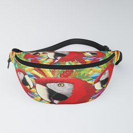 Macaw Parrot Paper Craft Digital Art Fanny Pack
