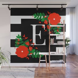 E - Monogram Black and White with Red Flowers Wall Mural