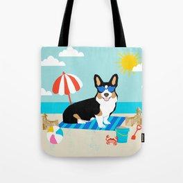 Tri Corgi Sandcastles Summer Beach Day sun corgi art tricolored corgi dog Tote Bag