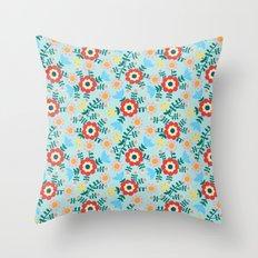 Folk Floral (blue) Throw Pillow