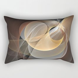 Brown, Beige And Gray Abstract Fractals Art Rectangular Pillow