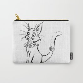 Color-or-Paint-Your-Own Cat with Flowers #ArtofGaneneK #AdultColoring #Animal Carry-All Pouch