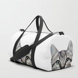 Cat, American Short hair, illustration original painting print Duffle Bag