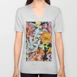 Peachy Roses Art Unisex V-Neck