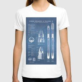 NASA SpaceX Crew Dragon Spacecraft & Falcon 9 Rocket Blueprint in High Resolution (light blue) T-shirt