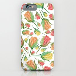 Single Rose Buds Watercolor Illustration iPhone Case