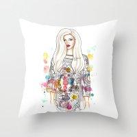 selena Throw Pillows featuring selena illustration by sparklysky