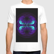 Blue flowered globe abstract White MEDIUM Mens Fitted Tee