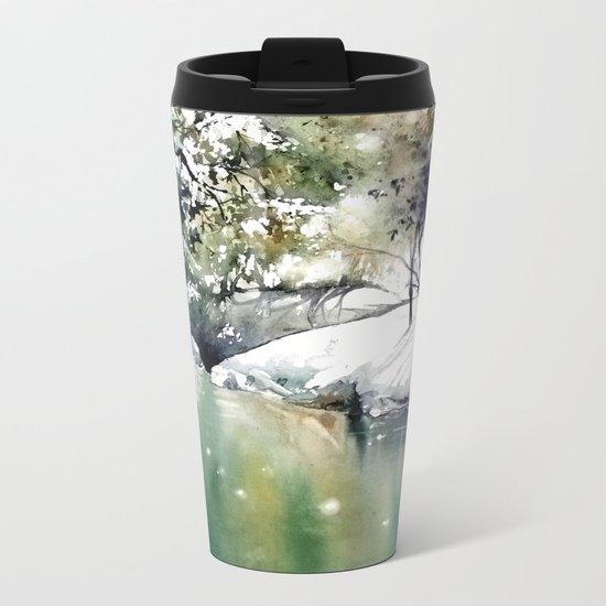 Running water down below in the dark, frozen forest Metal Travel Mug