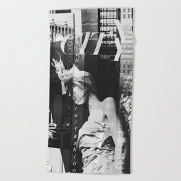 NYC Editorial Collage Black & White Beach Towel