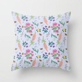 Violets Honeysuckle & Lavender Pattern Throw Pillow