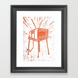 TV Set Lino Framed Art Print